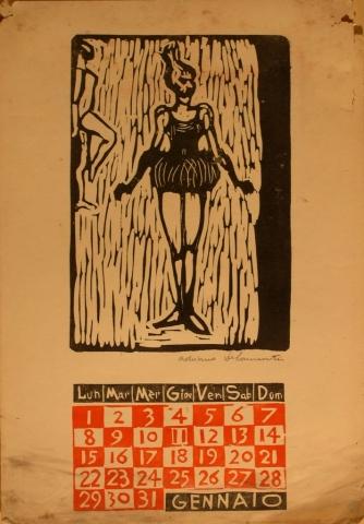 Calendario 1962 gennaio - Xilografia su Carta - 35x25 - 1962