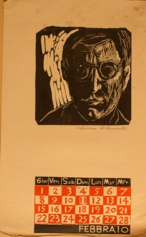 Calendario 1962 Febbraio - Xilografia su Carta - 35x25 - 1962