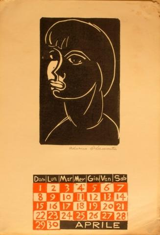 Calendario 1962 aprile - Xilografia su Carta - 36x25 - 1962