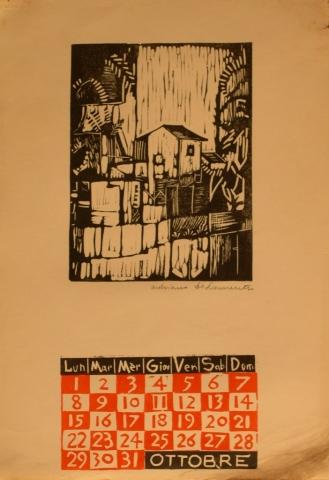 Calendario 1962 ottobre - Xilografia su Carta - 35x25 - 1962