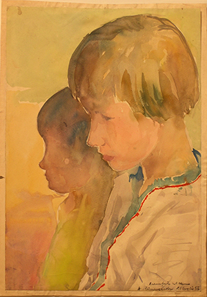 Francorforte sul Meno, a Palmengarden - Tempera su Carta - 40x29 - 1957