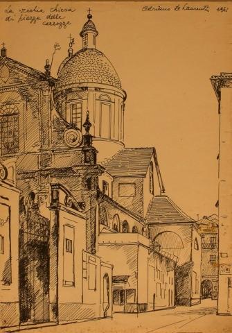 La vecchia chiesa di piazza delle Carrozze - Penna su Carta - 32x25 - 1961
