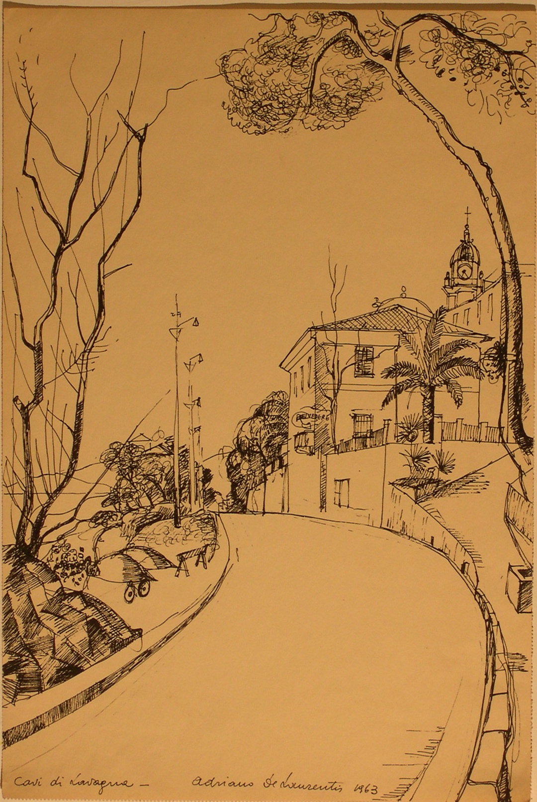 Cavi di Lavagna - Penna su Carta - 41x28 - 1963