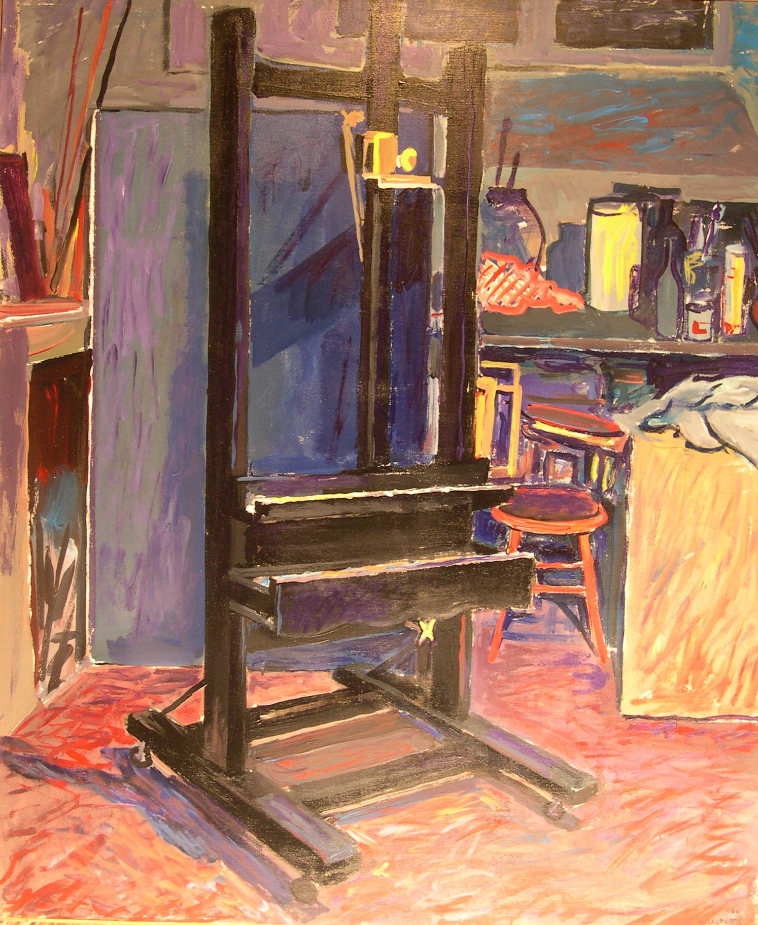 Il cavalletto nero - 1986 - Tempera Acrilica su Tela - 120x100