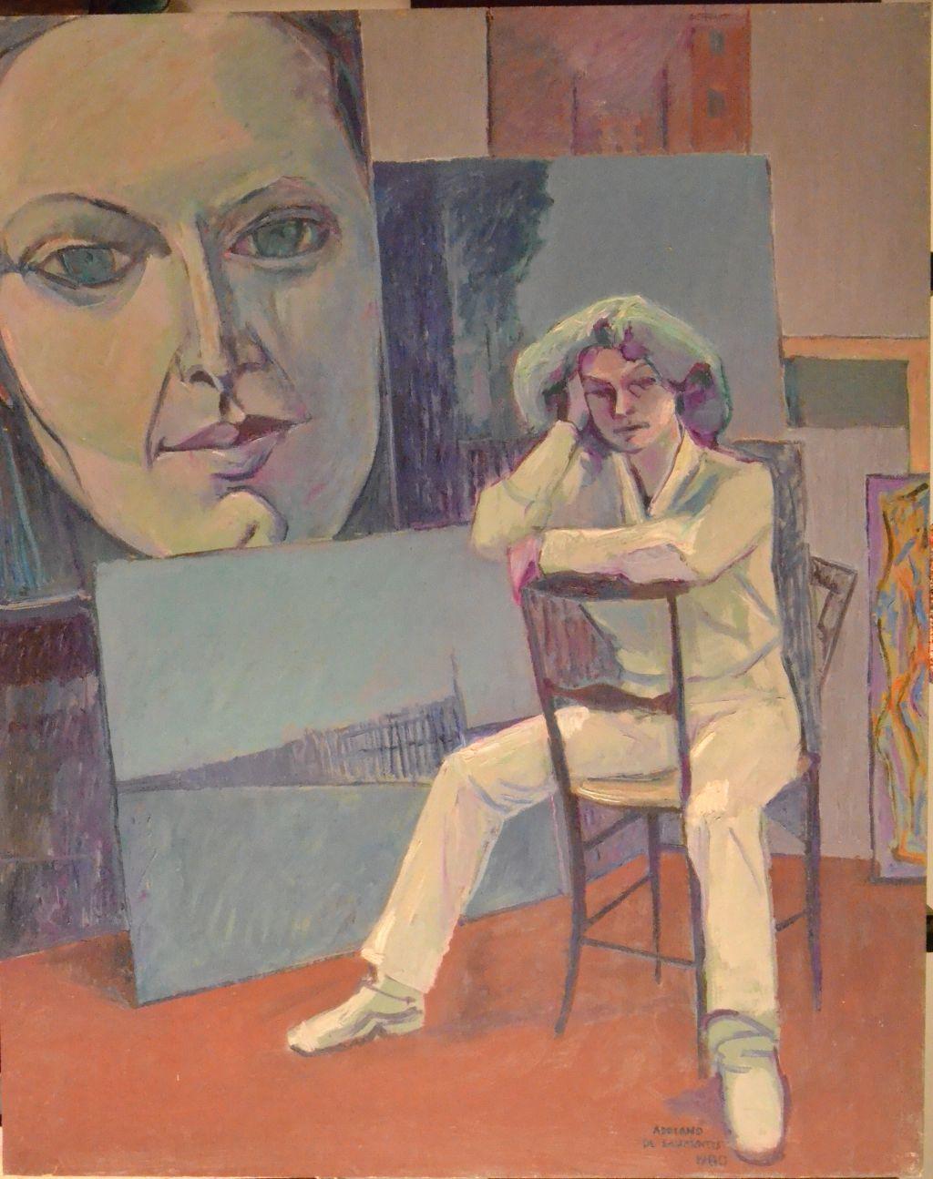 Modella in studio - 1980 - Olio su Tavola - 100x80