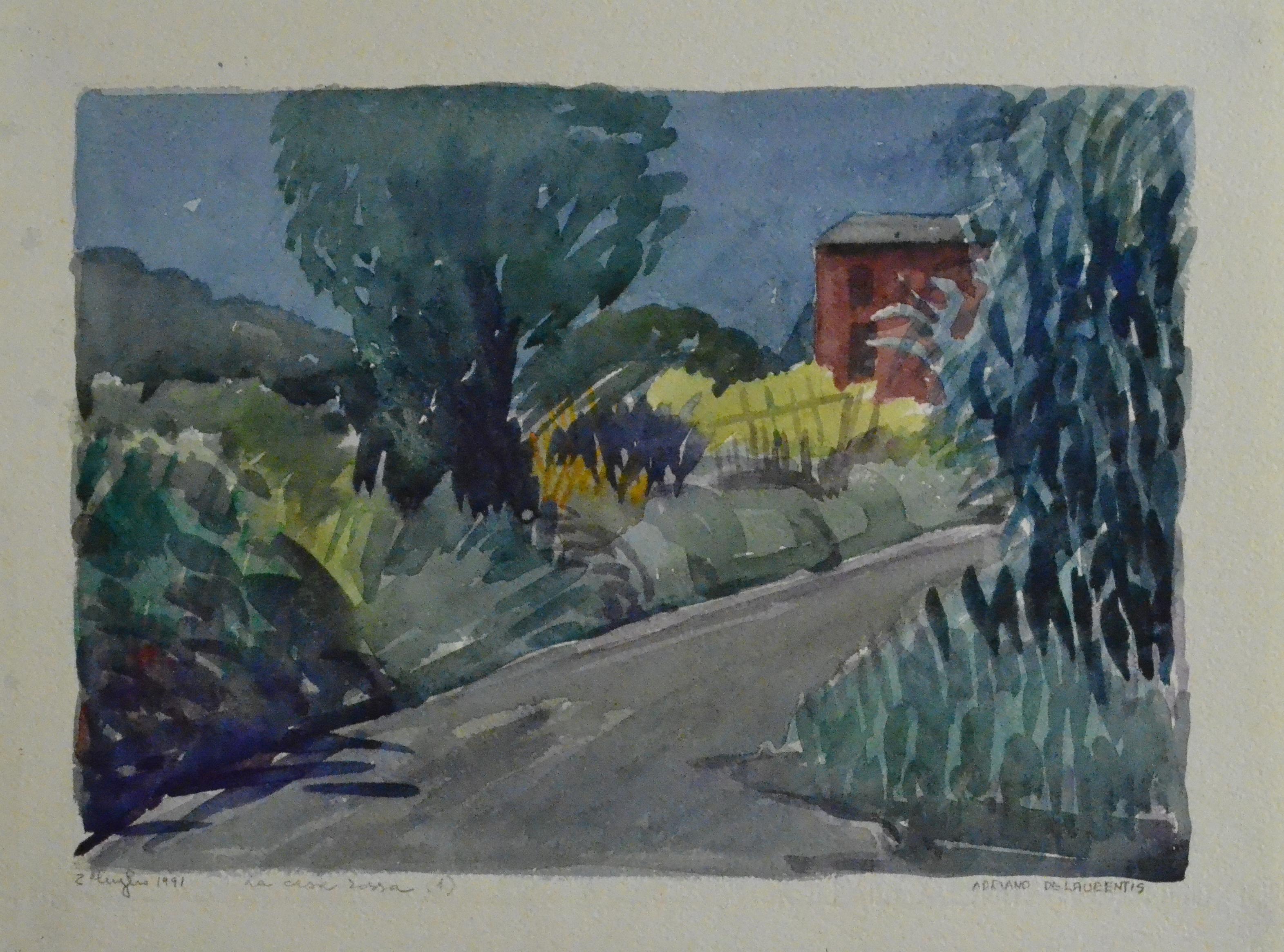 La casa rossa 1 - 1991 - Acquerello su Carta - 29x38