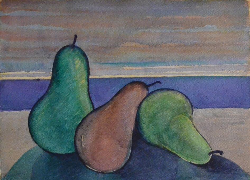 Pere al tramonto - 1998 - Acquerello su Cartoncino - 28,5x38