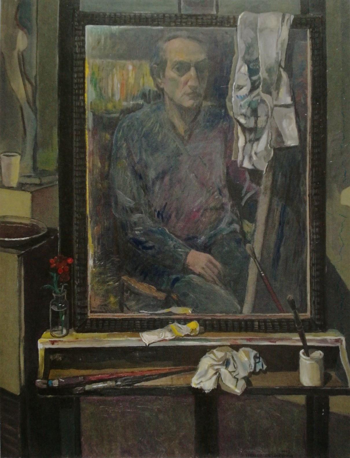 Lo specchio antico su cavalletto - 1993 - Olio su Tela - 110x90