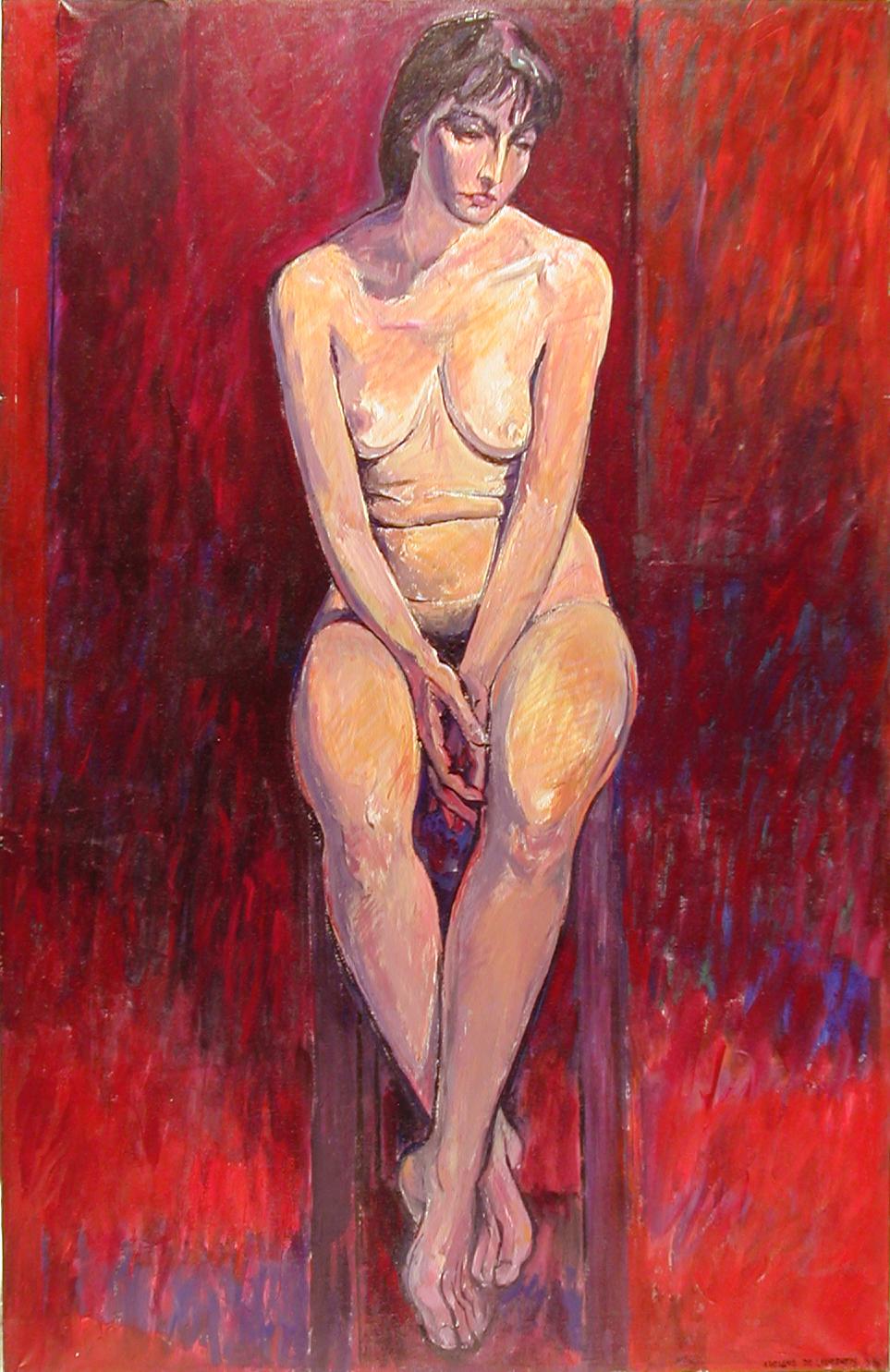 Nudo sullo sgabello - 1988 - Olio su Tela - 140x90