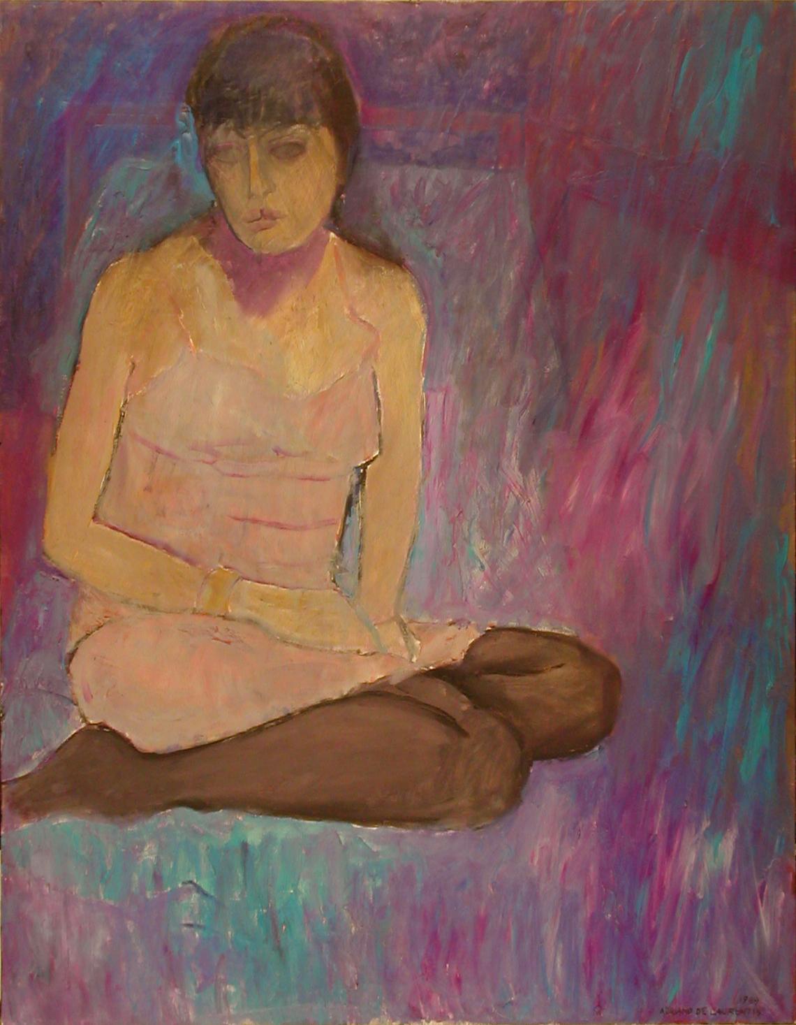 Figura con calze scure - 1989 - Olio su Tela - 90x70