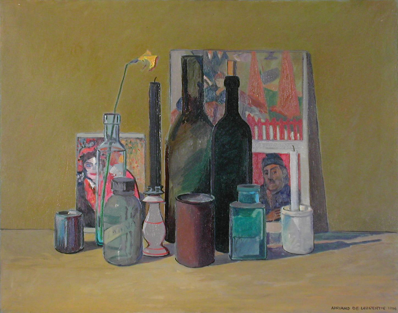 Bottiglie con Stampe - 1994 - Olio su Tela - 55,5x70
