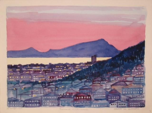 Tramonto a Chiavari - 1998 - Acquerello su Carta - 20,5x27,5