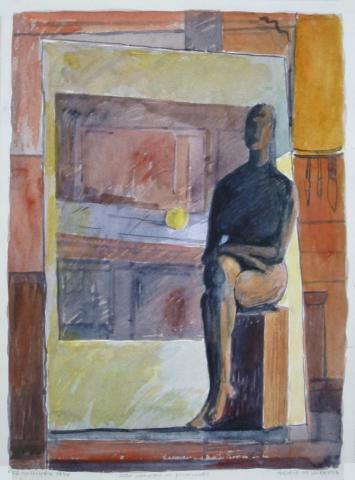 Alla maniera di Giacometti - 1998 - Acquerello su Cartoncino - 36x26,5