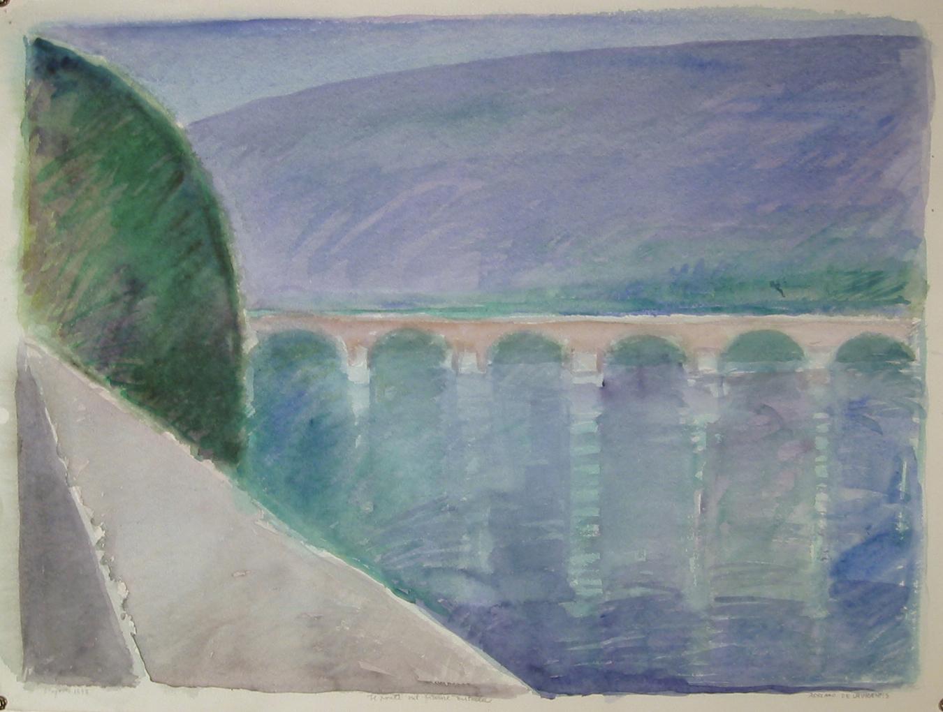 Il ponte sul fiume Entella - 1993 - Acquerello su Cartoncino - 52x71