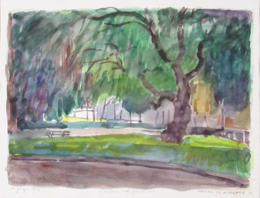 L'albero nel giardino - 1991 - Acquerello su Cartoncino - 27,5x36