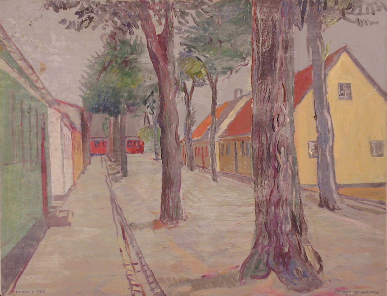 Una via di Karebeksminde - Olio su Compensato - 50x60 - 1982