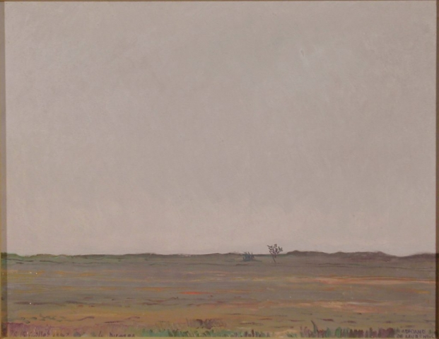 """""""Les dunes chez Carnc"""" Bretagne Merid. Le 15 jullet 1982 - Olio su Compensato - 50x65 - 1982"""
