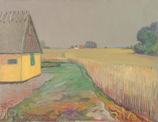 La casa gialla (Danimarca) - Olio su Compensato - 50x65 - 1982
