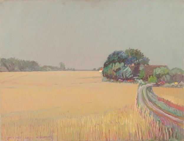 Campo di grano (Danimarca) - Olio su Compensato - 50x65 - 1982