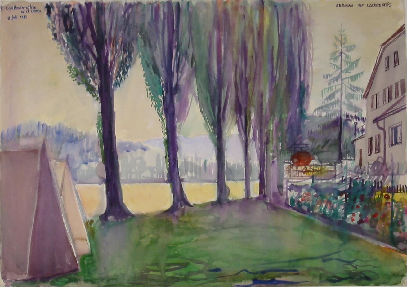 Kohlbachmuehle a.d. Donau - Acquerello su Cartoncino - 71x50 - 1981