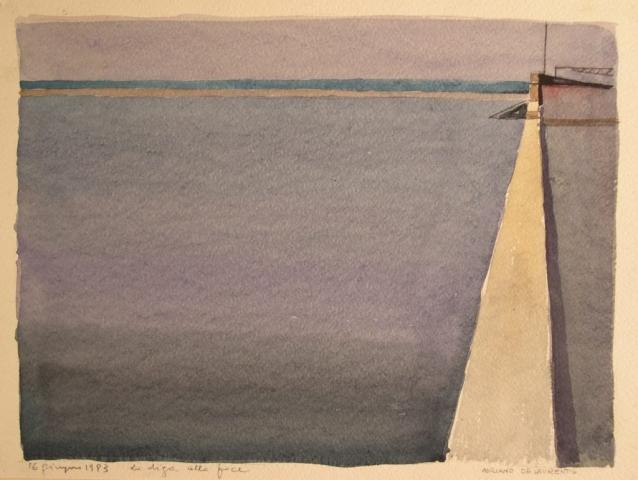 La diga alla foce - 1993 - Acquerello su Cartoncino - 25x34