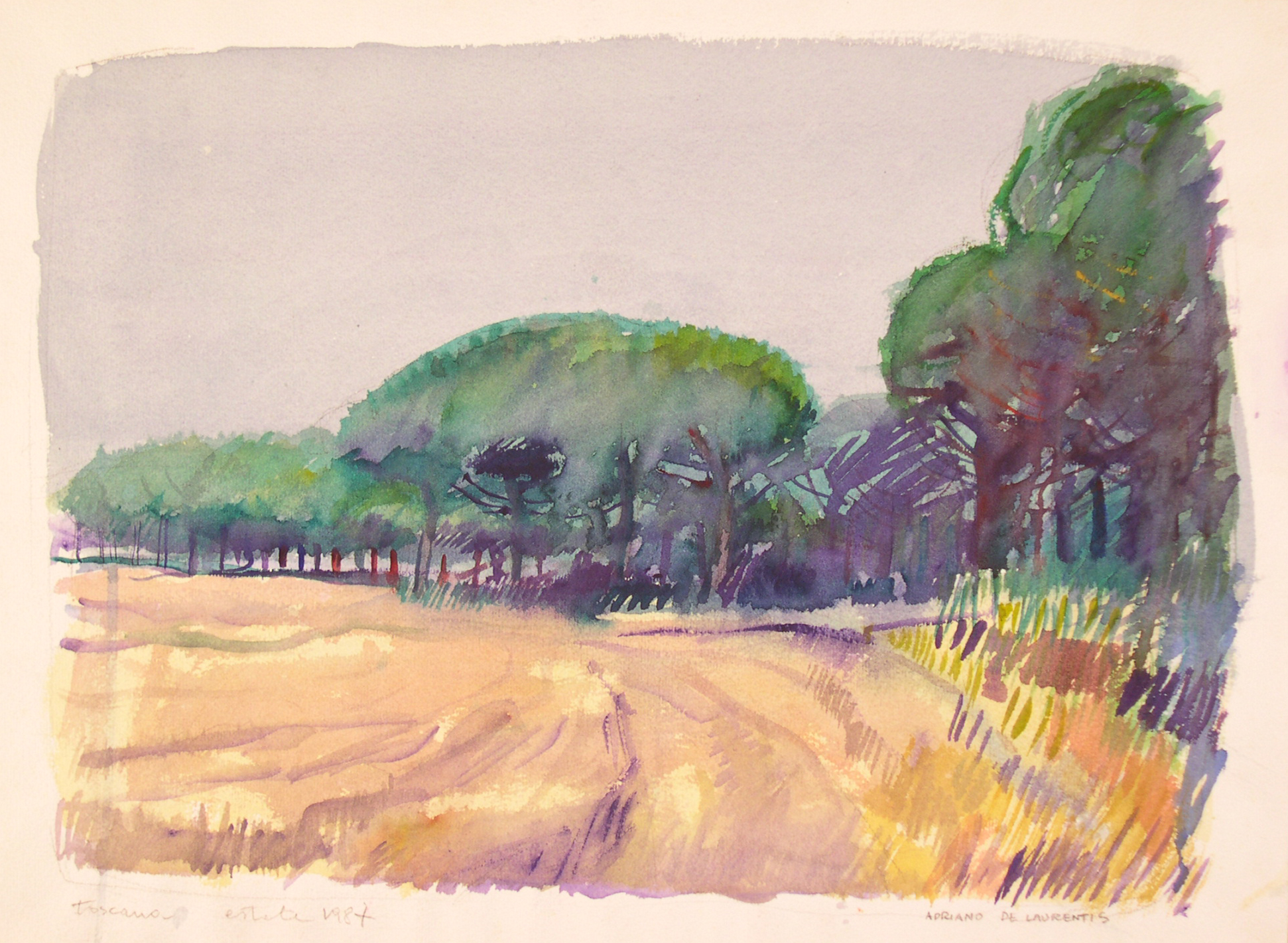 Toscana - Acquerello su Cartoncino - 26x41 - 1987