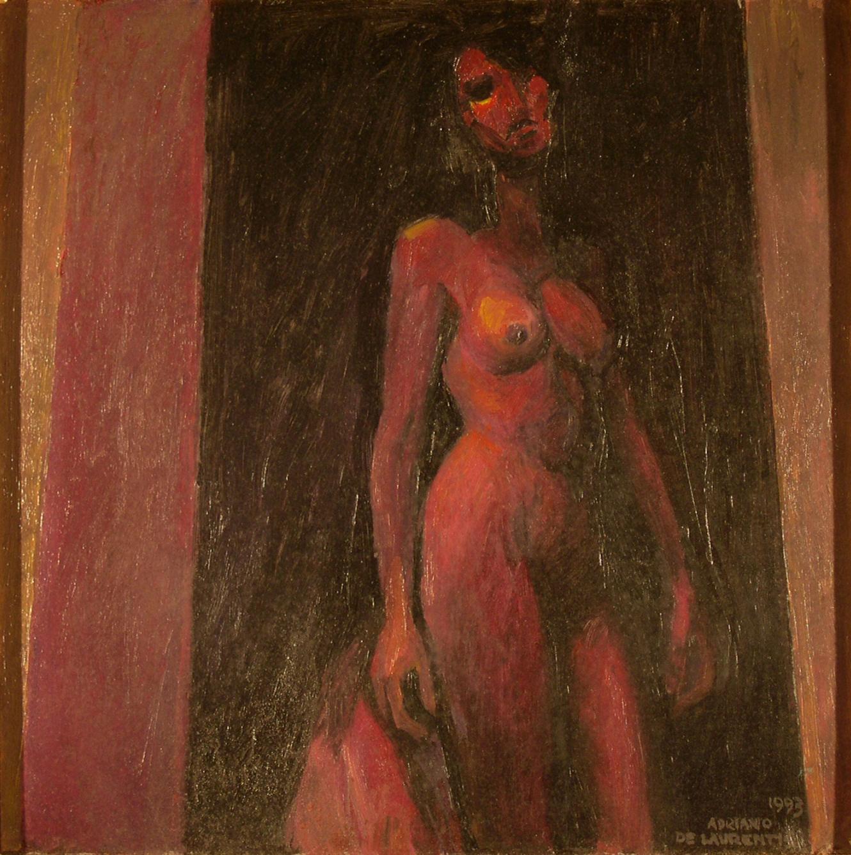 Nudo in Rosso - 1993 - Olio su Cartone - 50x50