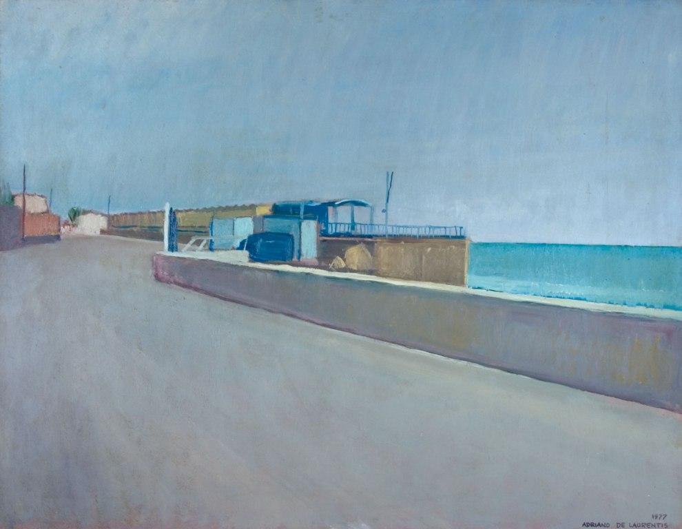 Bagni Comunali - Olio su Tavola - 50x77 - 1977
