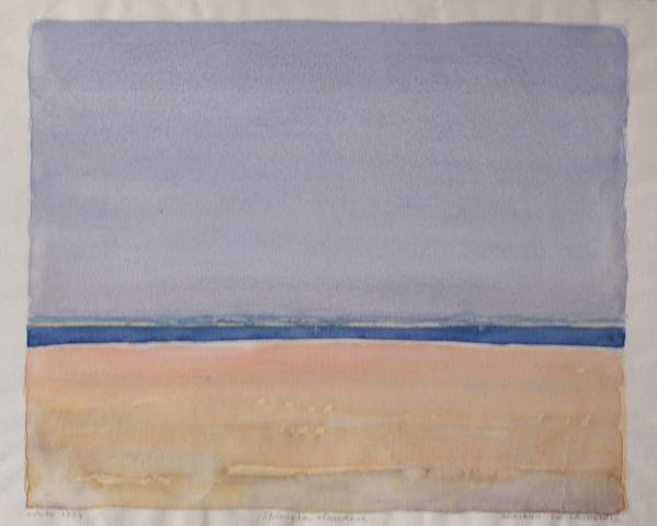 Spiaggia olandese - Acquerello su Cartoncino - 28x34 - 1984