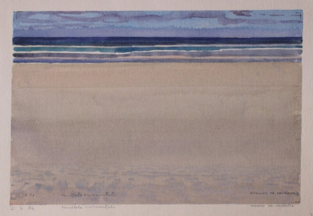 Parallele orizzontali - Acquerello su Cartoncino - 21x31 - 1984