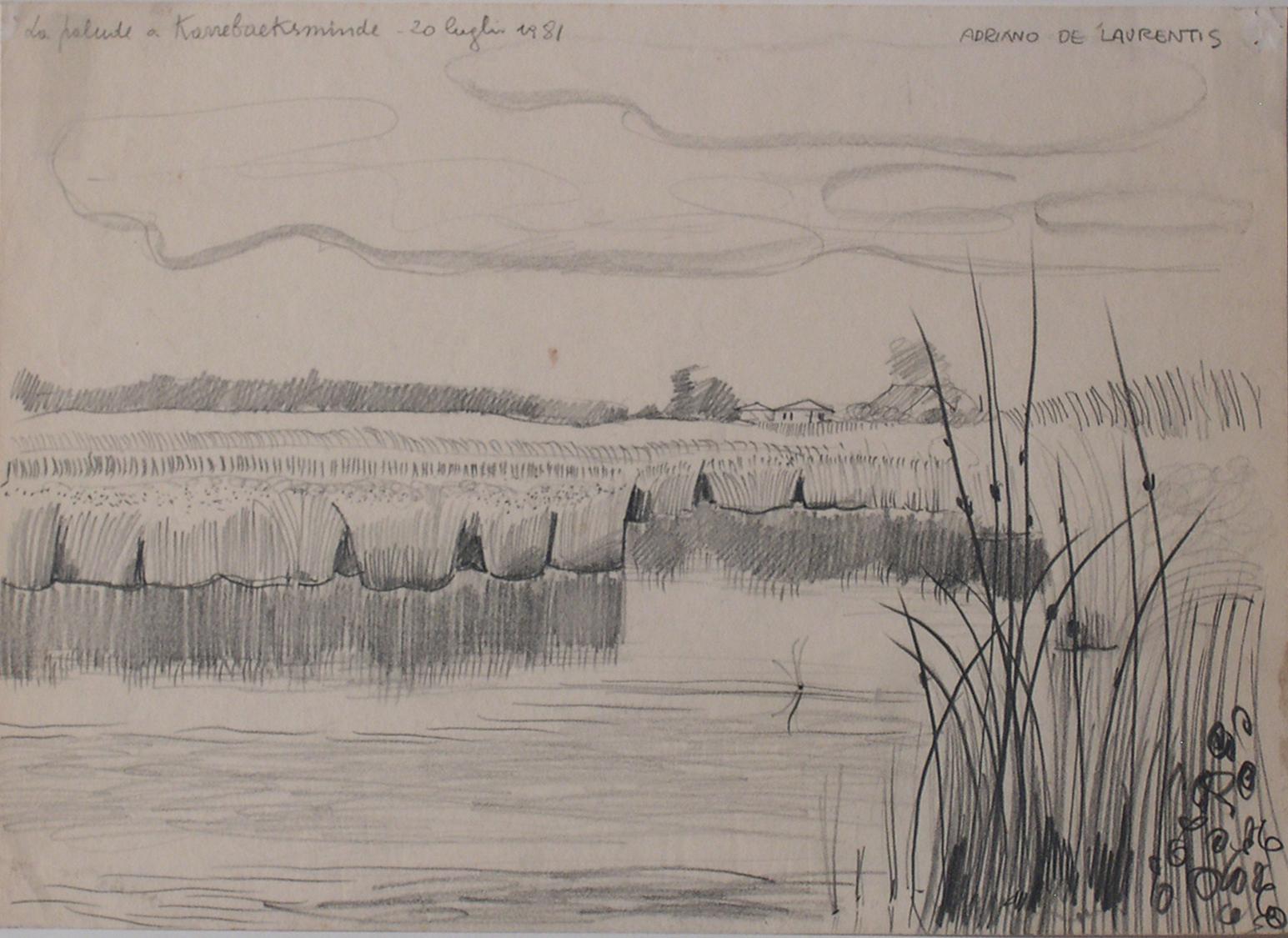 La palude a Karebeksminde - Matita su Carta - 25x34 - 1981