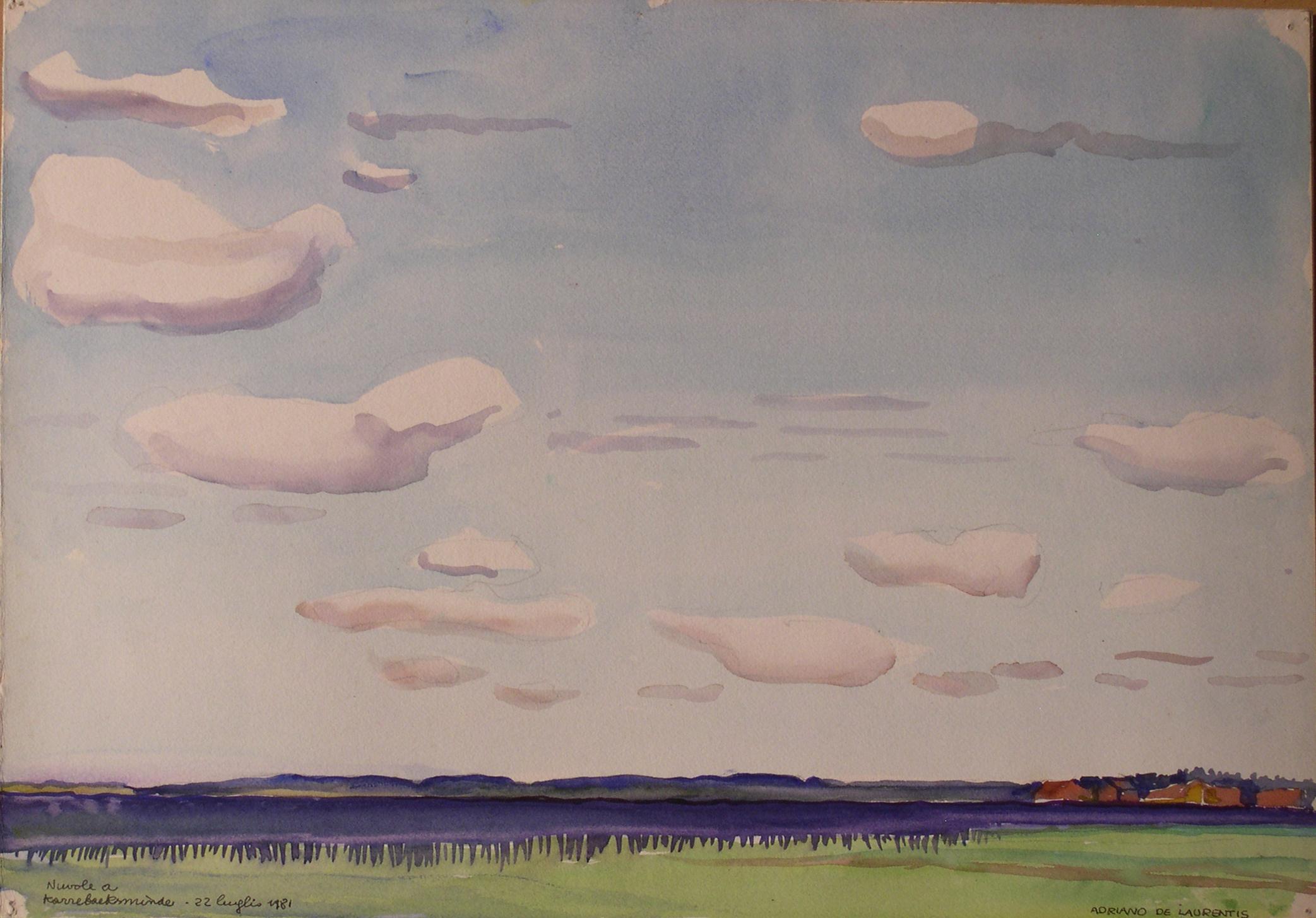 Nuvole a Karebeksminde - Acquerello su Cartoncino - 36x50 - 1981