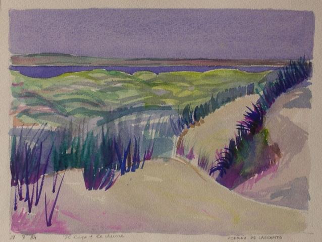 Il Lago e le Dune - Acquerello su Cartoncino - 21x27 - 1984