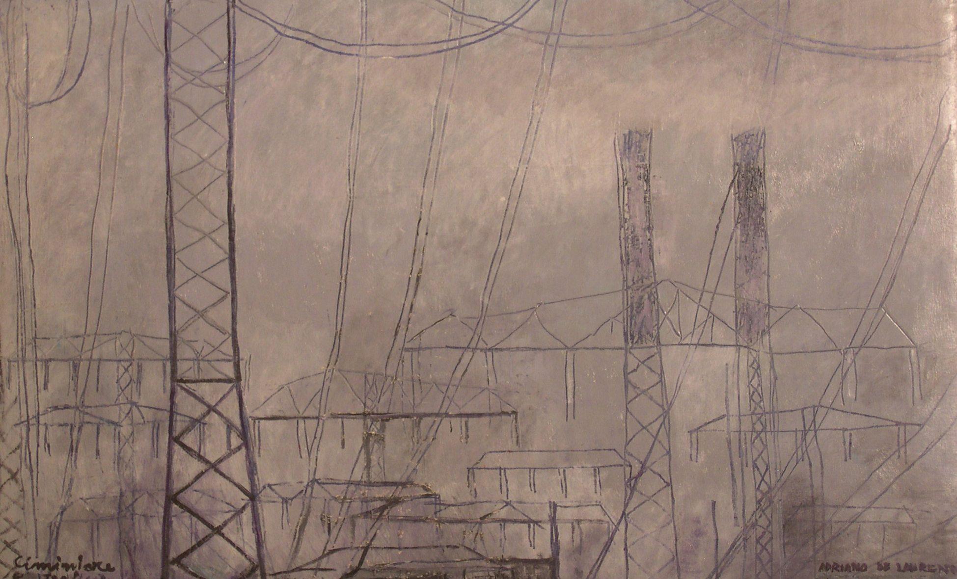 Ciminiere e Tralicci - 2001 - Olio su Cartone - 43x71